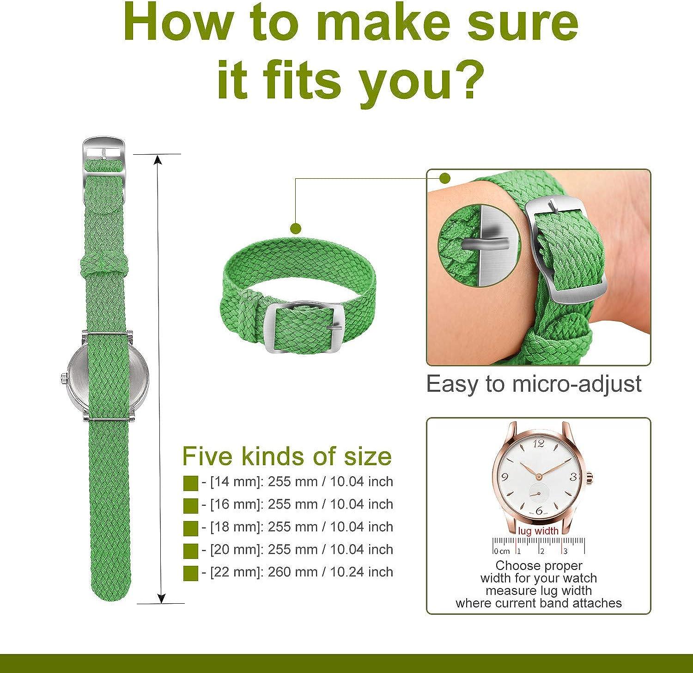 Ullchro Nylon Bracelet Montre Remplacer Haute Qualité Perlon Tissé Bracelet Montre NATO Homme Femme - 14, 16, 18, 20, 22mm Montre Bracelet avec Acier Inoxydable Boucle Vert