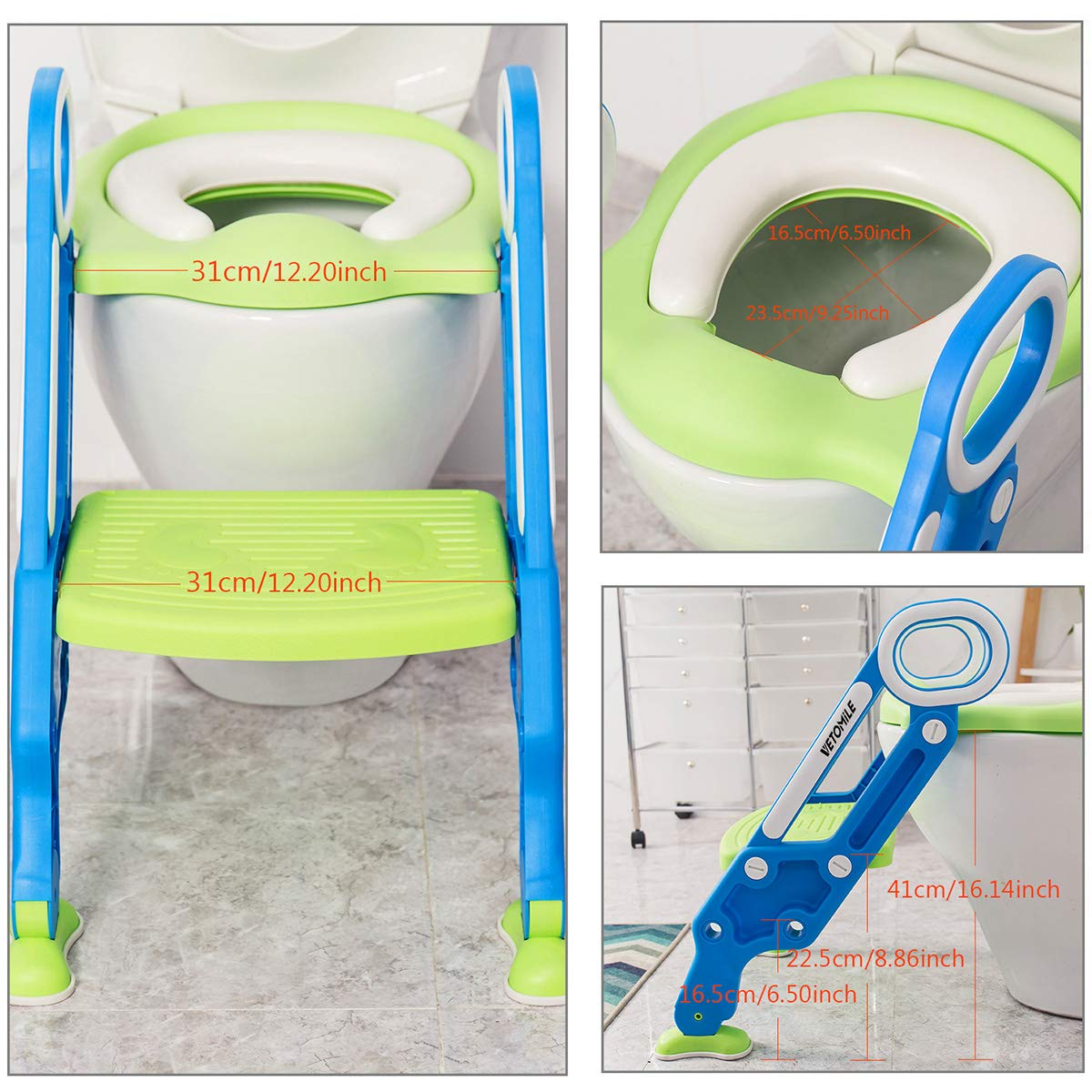 VETOMILE Baby Potty Toilet Trainer Seat for Children Kids Toddles with Adjustable Sturdy Non-Slip Step Stool Ladder and 2 PU Leather Replaceable Soft Padding Suitable for O V U Shaped-Toilets by VETOMILE (Image #2)