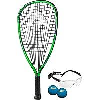 HEAD MX Hurricane Pack – Juego de Raquetas de Racquetball para Principiantes con anteojos y Dos Bolas