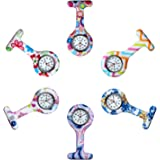 Avaner Reloj de Enfermera Silicona 6-10 Piezas Reloj Médico de Colores, Redondo Reloj Prendedor de Broche de Túnica de…
