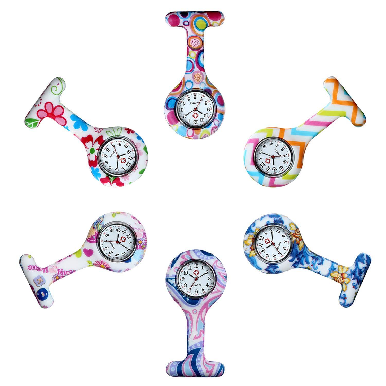 Avaner Set of 6PCS Silicone Nurse Doctor Medical Brooch Analog Quartz Fob Pocket Pin Watch Round Clip On Fob Watch