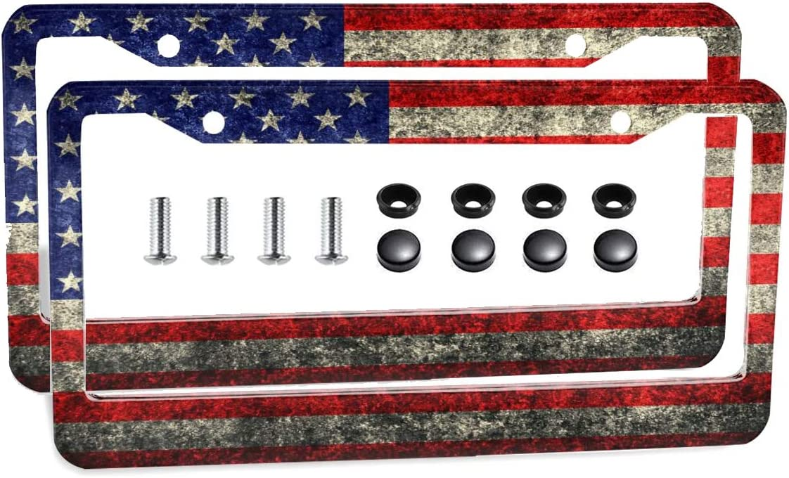 FunnyLpopoiamef Custom Patriotic USA License Plate Frames Quality Aluminum Old American Flag Design License Plate Covers Veteran Patriot Novelty License Plate Frames 2 Flat Holes and Screws
