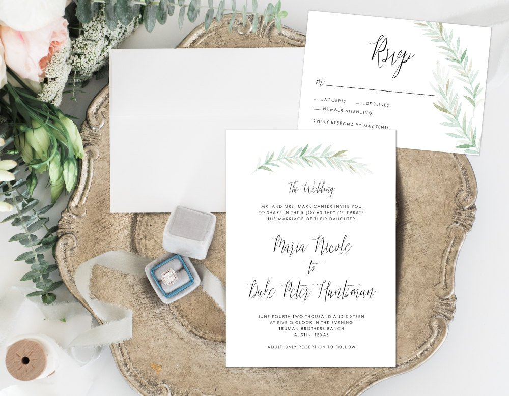 Organic Wedding Invitation, Simple Earthy Wedding Invitation, Rustic Wedding Invitation