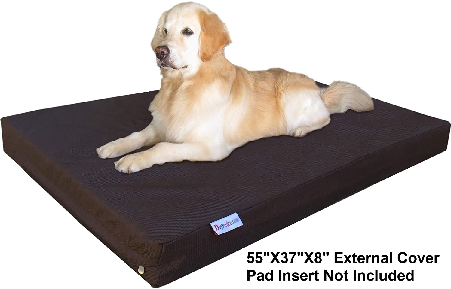 Seal Brown Replacement Cover Only Dogbed4less Jumbo 1680 Nylon Heavy Duty Dog Pet Bed External Zipper Duvet Cover and Waterproof Internal Cover 55X37X8 Inches