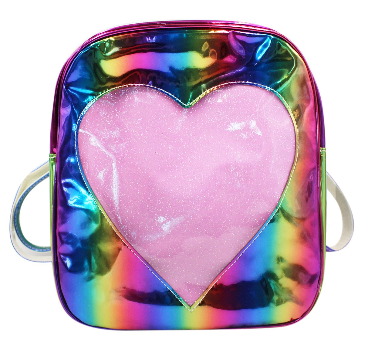 Holographic Backpack Rainbow Shoulder Bag Satchel with Cute Heart Print