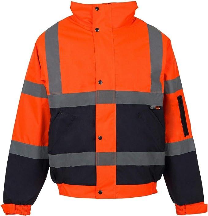 High Vis Viz Black or Blue Reflective Waterproof Jacket Coat With Concealed Hood