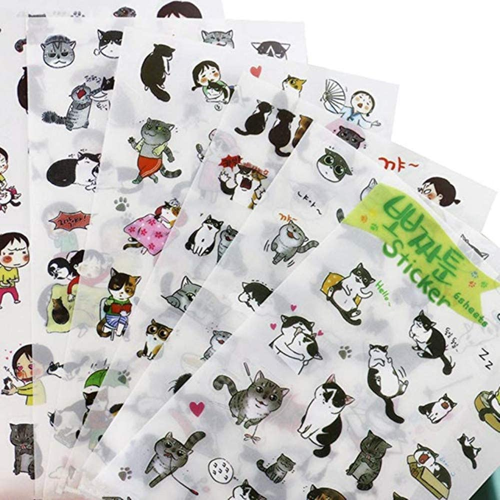 Cat Stickers Pack for DIY Albums Diary Laptop Decoration Cartoon Scrapbooking School Office Stationery, Super Cute Black and White Cat Stickers Best Gift for Your Kids