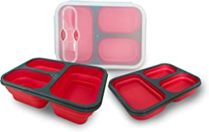 Exclusivo Bolsillo Bento Lunch Box for Women Men & Kids With Spoon & Fork,BPA Free,Collapsible and Leakproof Food Grade Silicone Food Storage Containers with 3 Compartments (Red,One Container)