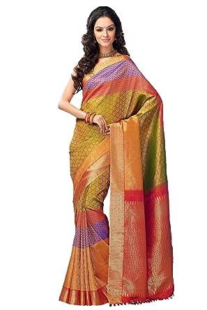 615c317e946616 Samyakk Kanchipuram Silk Saree With Heavy Pallu for Women [Multi color]:  Amazon.in: Clothing & Accessories