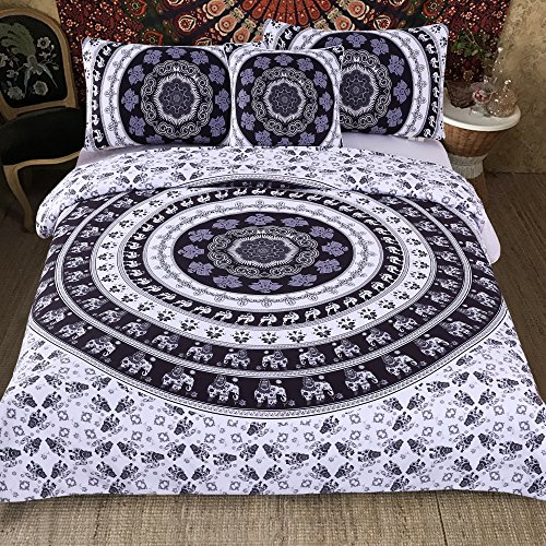 Sleepwish 4 Pcs Indian Style Bed Covers Black and White Mandala Duvet Cover King Bedspread Boho Paisley Bedding Black And White Paisley Duvet Cover
