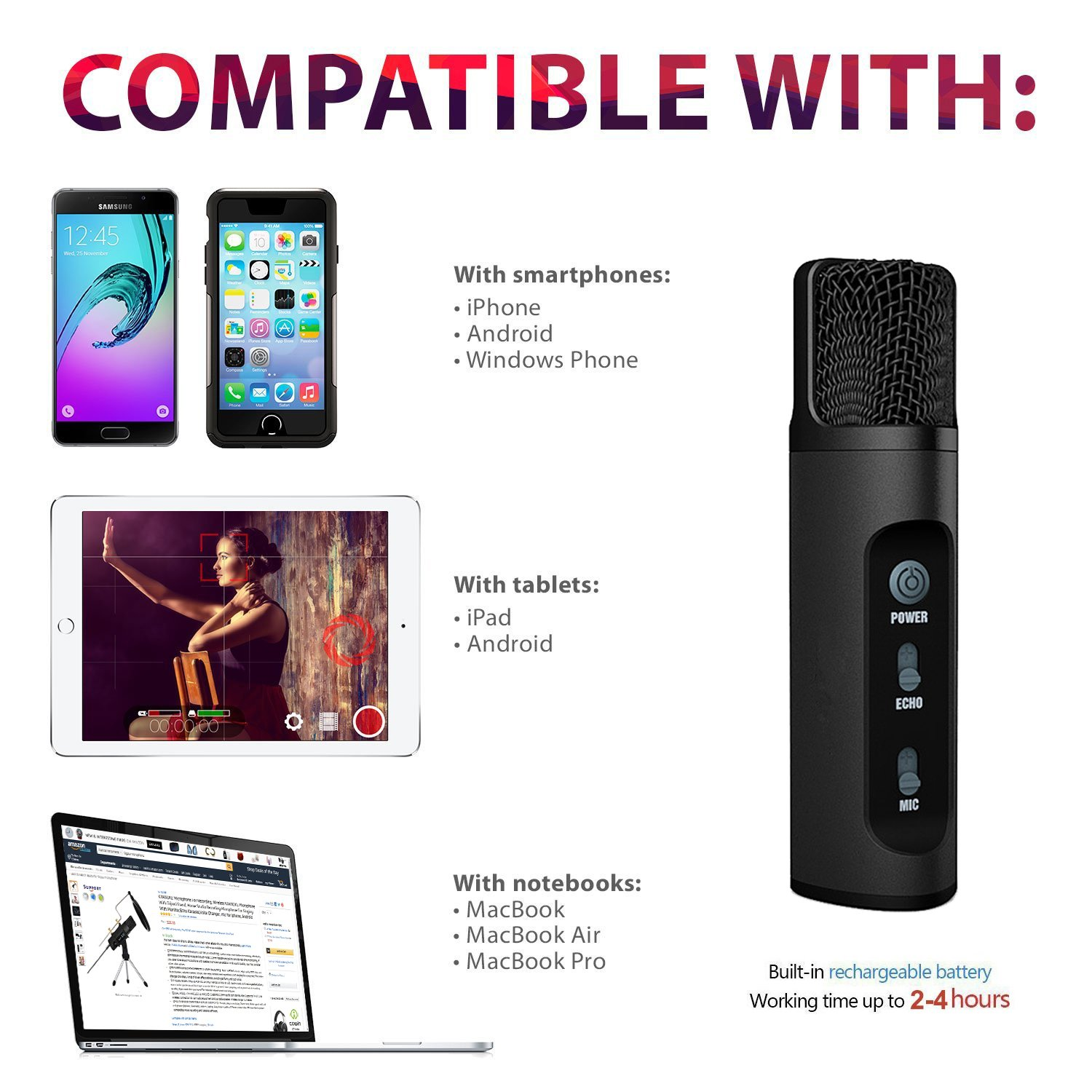 Amazon Professional Microphone Microphone For puter PC Phone Desktop Iphone Android Phone TKGOU KARAOKE Microphone With Monitor Echo Karaoke Voice