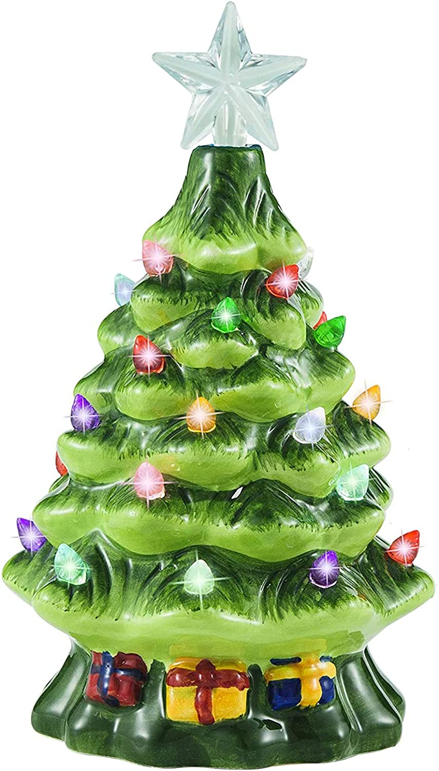 """Joiedomi 7"""" Ceramic Christmas Tree with Gift Box, Mini Prelit Tabletop Christmas Tree with Extra Blue Star Topper & Bulbs for Best Desk Decoration"""