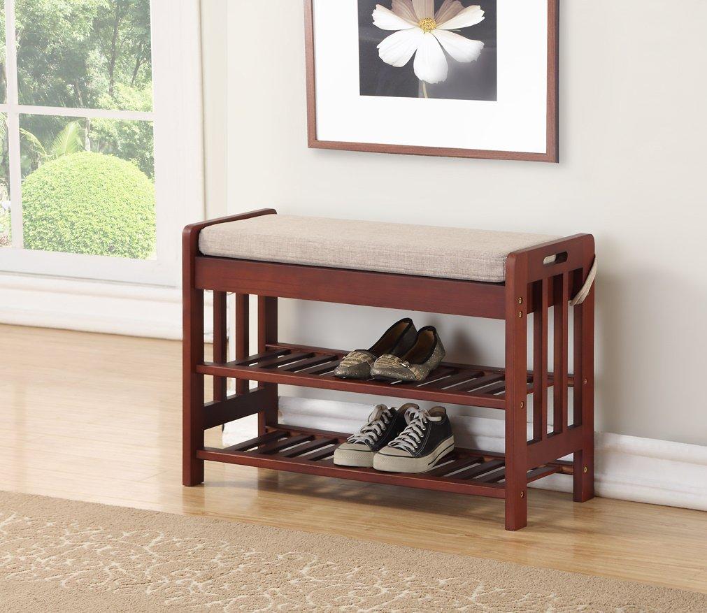 Walnut Finish Solid Pine Wood Storage Shoe Fabric Bench Shelf Rack Entryway Bathroom eHomeProducts OVH-3025-WALNUT