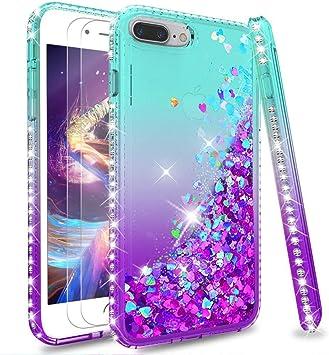 LeYi Coque pour iPhone 7 Plus 8 Plus Verre Trempé [Lot de 2], Fille Personnalisé Liquide Paillette Transparente 3D Silicone Gel Antichoc Kawaii Étui ...