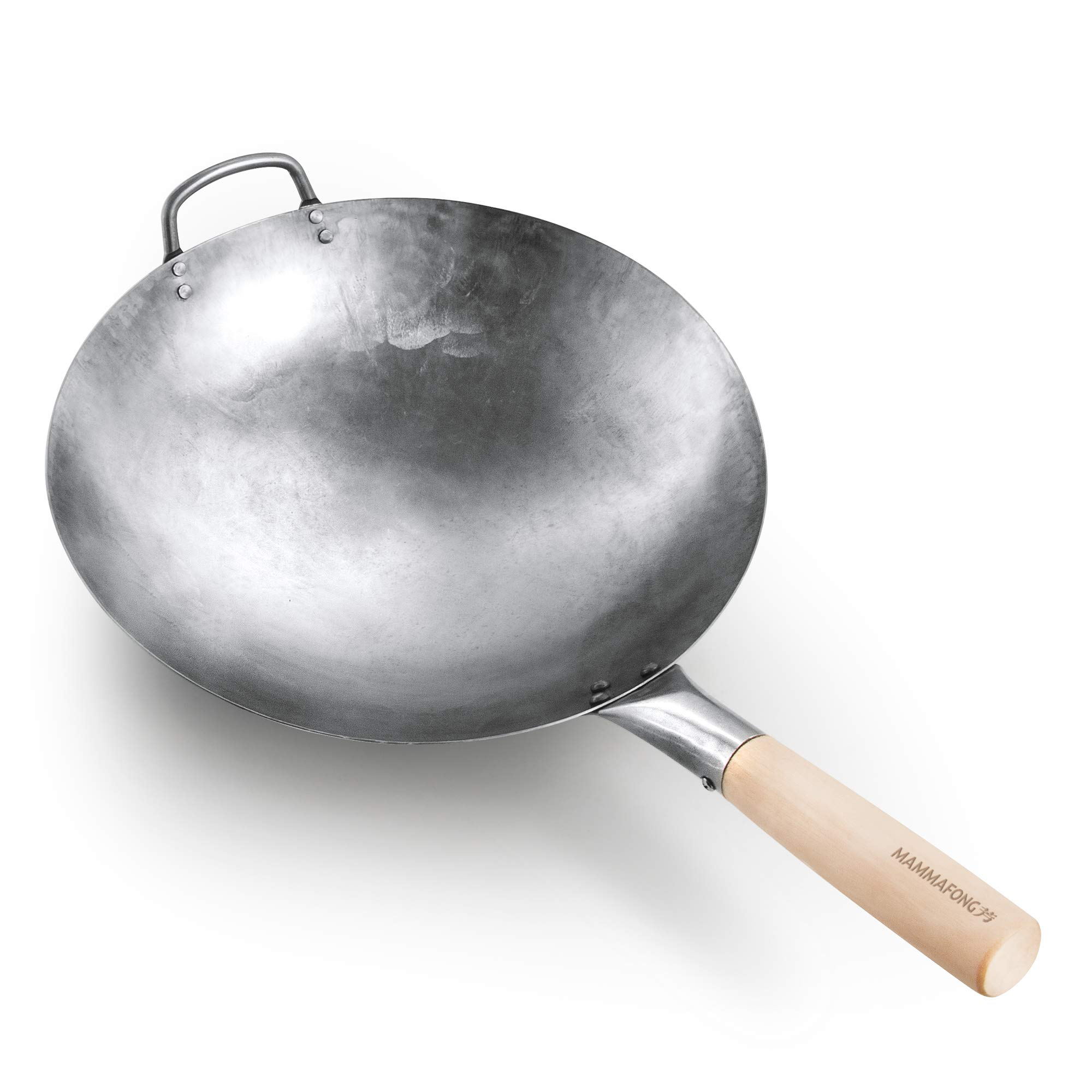 Authentic Hand Hammered Wok, 14 Inch Carbon Steel Chinese Pow Wok, Traditional Round Bottom Wok by Mammafong