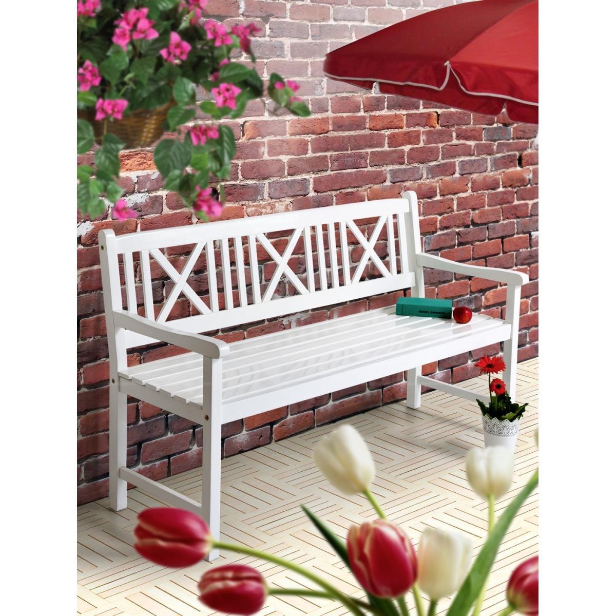 Gartenbank Aalborg weiß 3-Sitzer