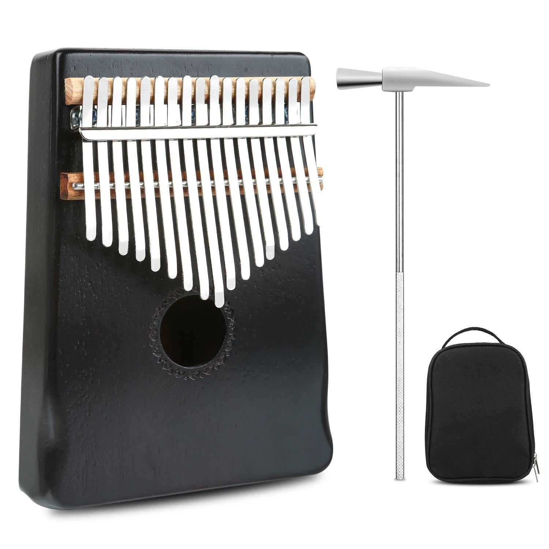 Meideal 17 Keys Kalimba Thumb Piano Professional Series Instrument Kits Finger Piano Mbira Likembe Sanza Musical Instrument Gift Mahogany Wood with Protable Portection Bag Black