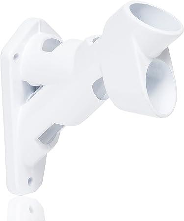 "Premium Adjustable White Painted Bracket For 1/"" Diameter Flagpole"