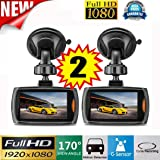 Lonshell 2x 2.2'' Screen Full HD 1080P Car DVR Vehicle Camera, 170°ultra Wide Angle Video Recorder , Dashboard Cam with G-sensor Night Vision (Black )