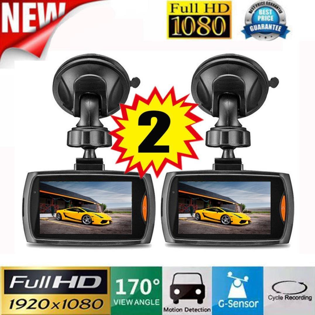 lonshell 2 x 2.2 'pantalla Full HD 1080p coche DVR vehículo cámara grabadora de vídeo, 120 ° Ultra gran angular, salpicadero Cam con visión nocturna G-sensor (negro) 120 ° Ultra gran angular L1