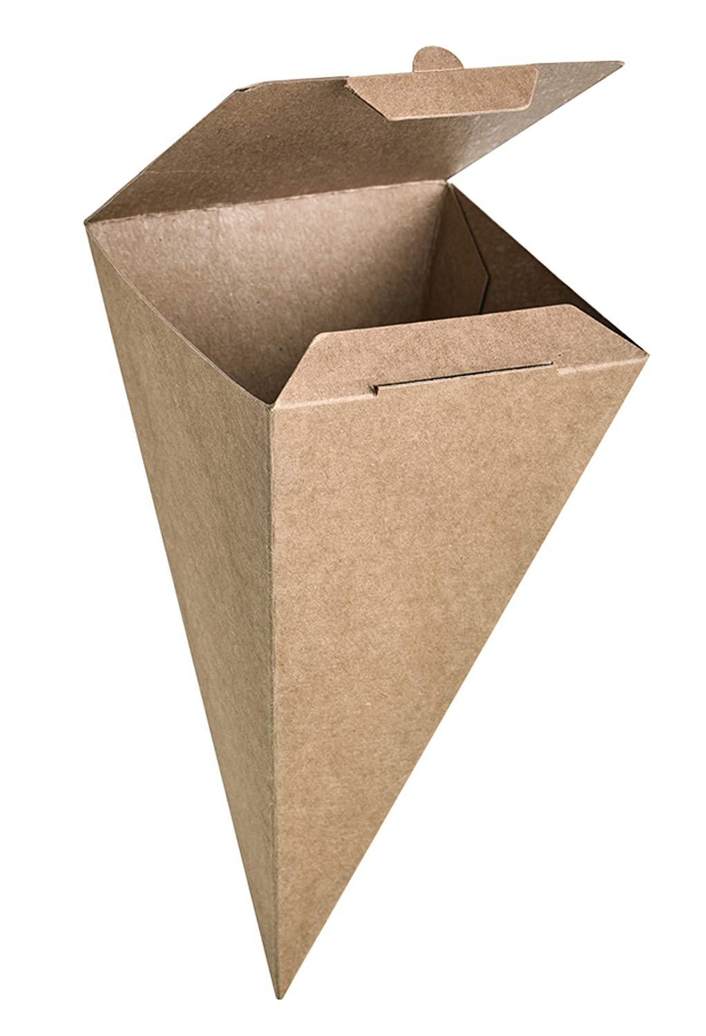 Close-able Kraft Snack Cone- Brown Paper Food Cones French Fry Holder, Pack of 25