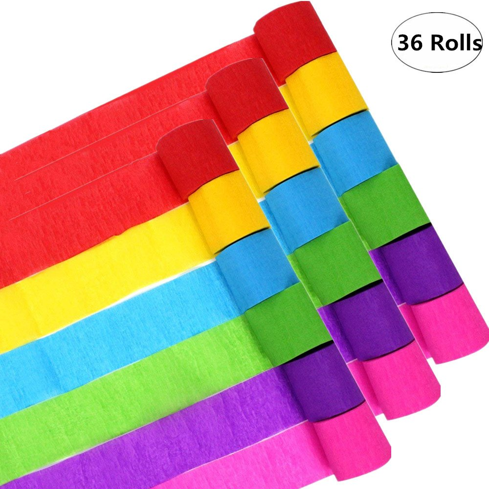 36 Rolls 6 Colors Crepe Paper Streamers Decorations Kits,for Birthday Party, Wedding, Class Party, Family Gathering, Graduation Ceremony, Festivals Decorations