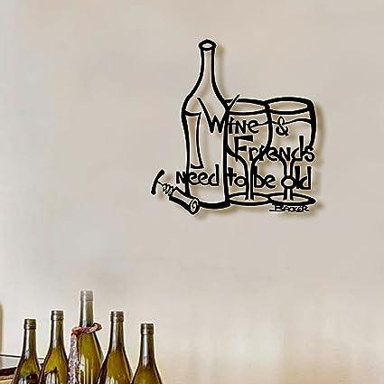 Amazon.com: Wine and Friends - Small Metal Art Sculpture Wall Art ...