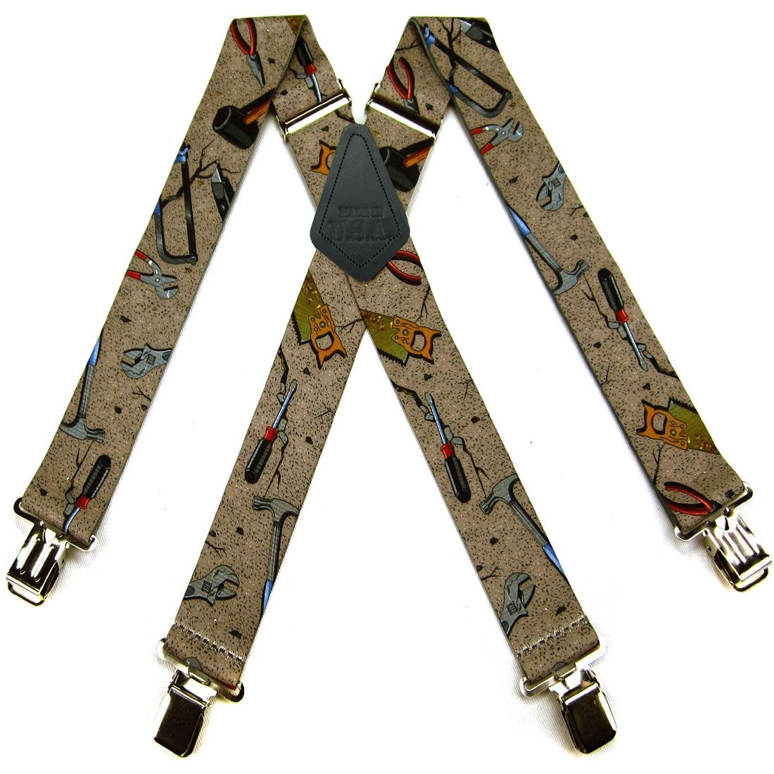 Brown Made in the USA Gray Carpenter Handyman Quality Mens Suspenders