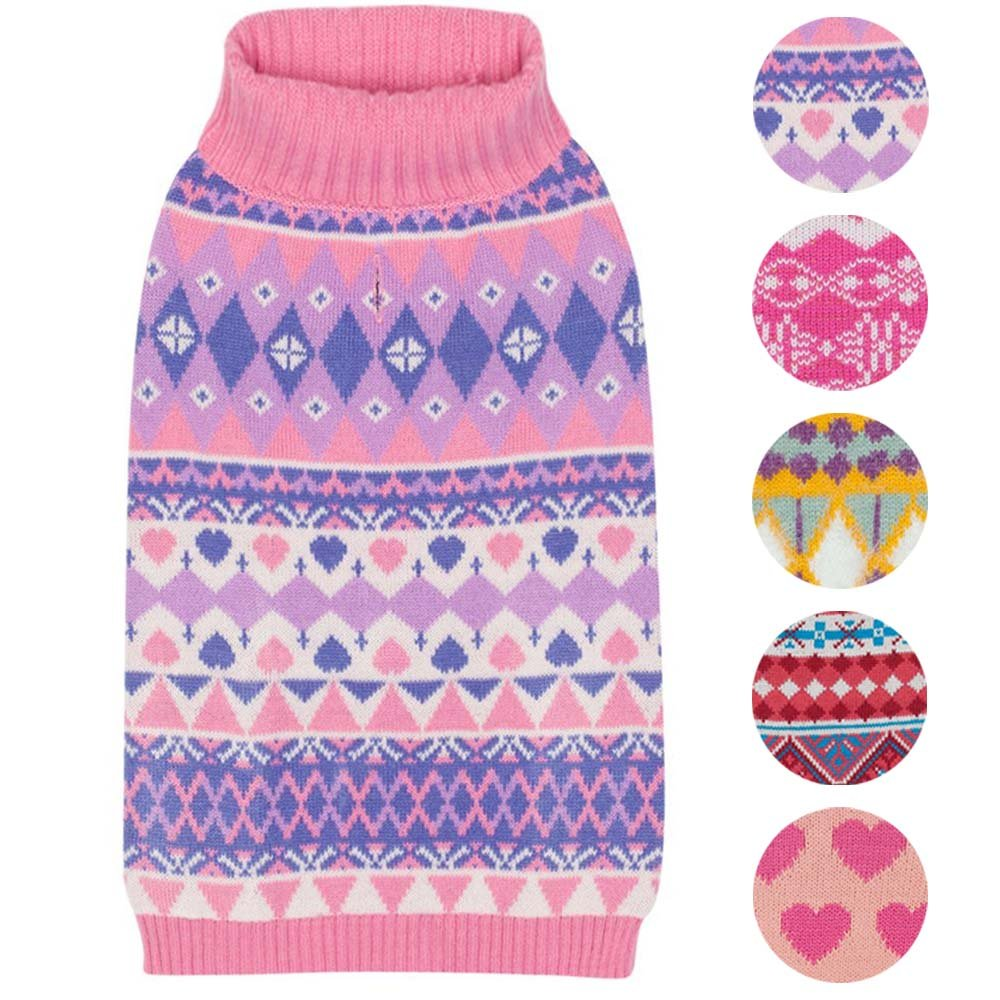 Blueberry Pet 7 Patterns Vivid Tone Sweet Winter Bloom Designer Pullover Dog Sweater with Valentine Heart in Carnation Pink and Sheer Lilac, Back Length 12'', Pack of 1 Clothes for Dogs