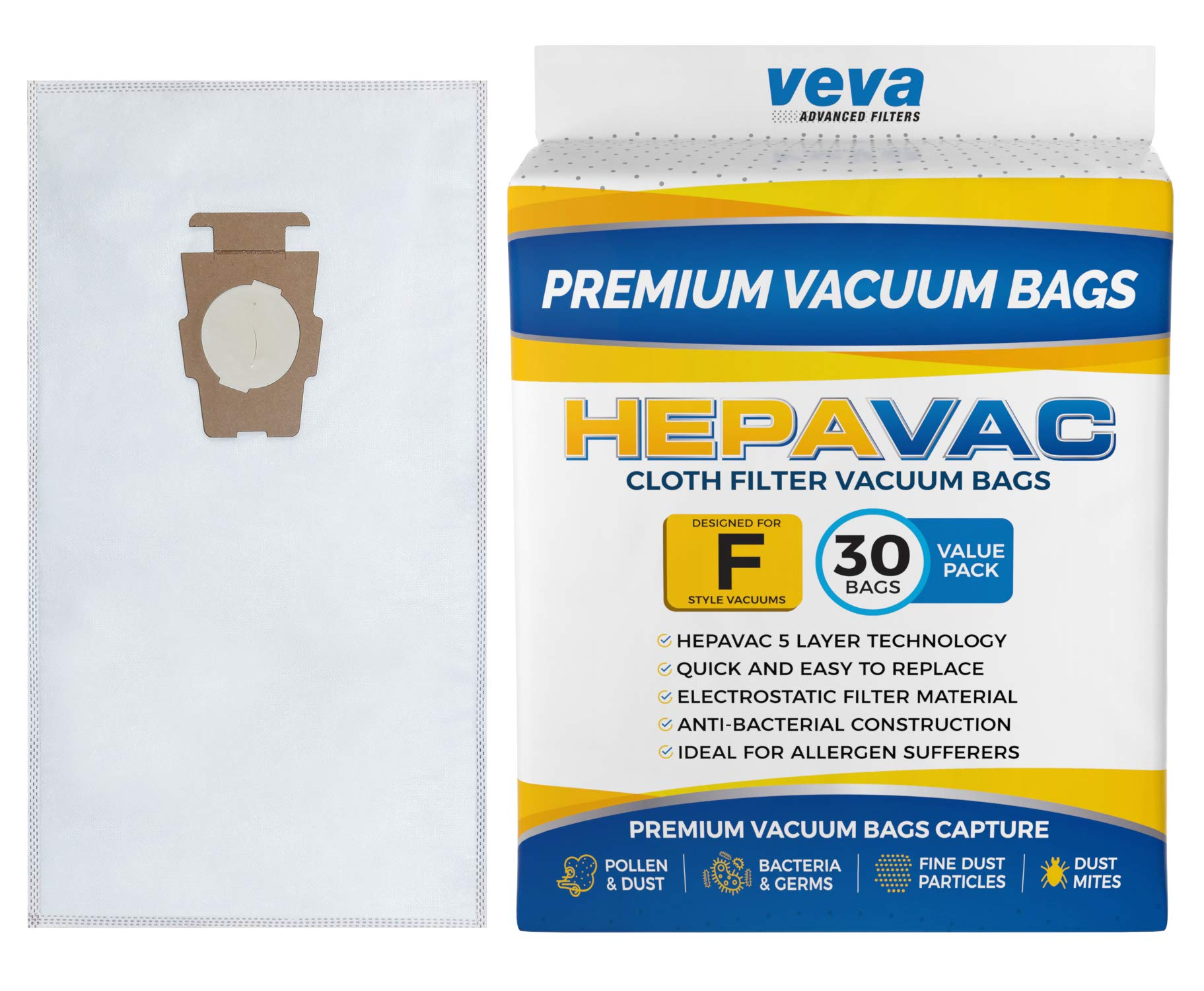 VEVA 30 Pack Premium HEPA Vacuum Bags Style F Cloth Bag for Kirby Replacement Type F, Q, 204808 204811 Avalir, Sentria I, II, G10D, Ultimate G, Diamond & Limited Edition; G3, G4, G5, G6, G7 Cleaners