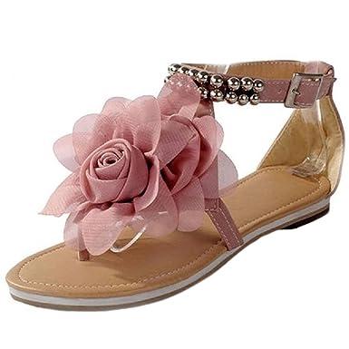 Minetom Damenschuhe Böhmen Stil Blume Schuhe Sommer Sandalen Sandaletten Glitzer Partei Riemchen Zehentrenner Rom Flip Flops ( Beige EU 39 ) wSzL2QflQ