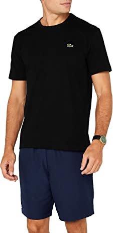 Camisetas negras marca Lacoste de cuello redondo.