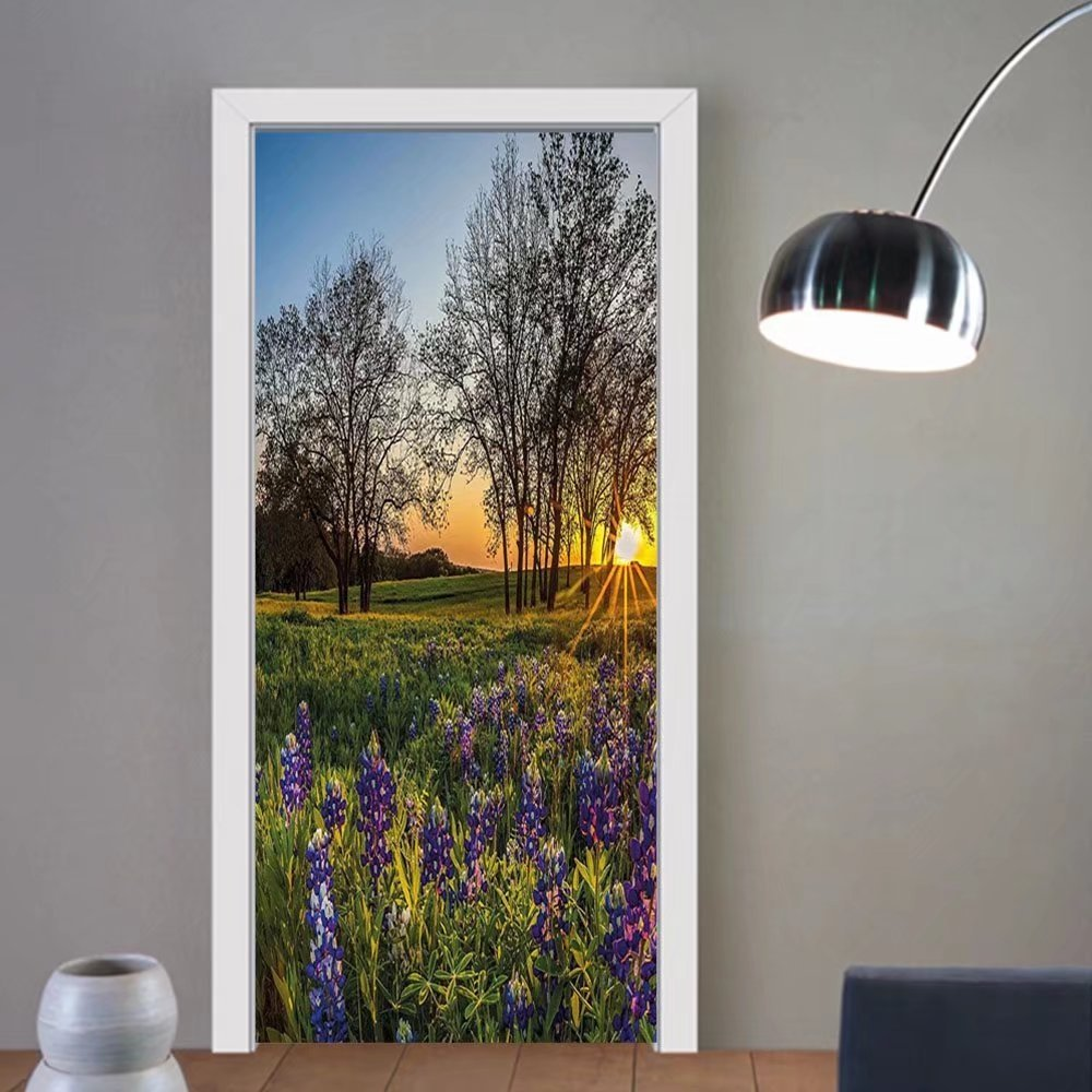 Gzhihine custom made 3d door stickers Nature Country Scenery with Lavender Meadow at Sunset Spring Beauty Foliage Eco Picture Multicolor For Room Decor 30x79