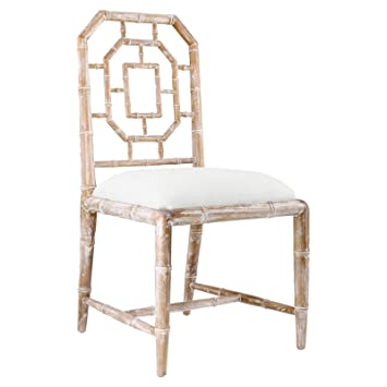 Tierney Hollywood Regency Bamboo Fret Beige Dining Chair