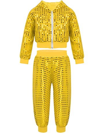 a555f6559d1 Agoky Unisex Boys Girls 2PCS Hip Hop Jazz Dance Outfit Shiny Sequins Hooded  Top with Pants