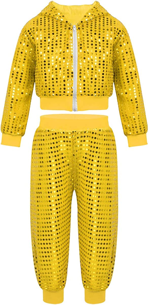 iixpin Kids Boys Girls Shiny Sequins Dancing Outfit Jazz Hip-Hop Street Dance Long Sleeves Hooded Tops with Pants Set
