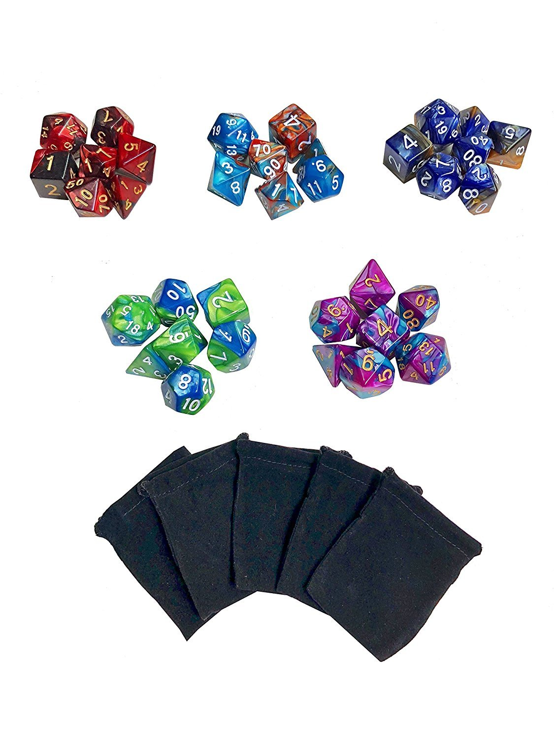 Double-Colors Polyhedral Game Dice with 5 Pack Black Pouches for RPG Dungeons and Dragons Pathfinder DND RPG MTG D20 D12 D10 D8 D4 Table Game XHD 35 Pieces Polyhedral Dice