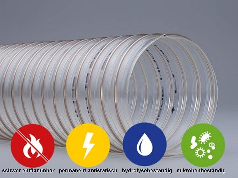 40 mm 0,4 mm Wandst/ärke//Meterware Quarzflex/® PU Absaugschlauch schwer entflammbar