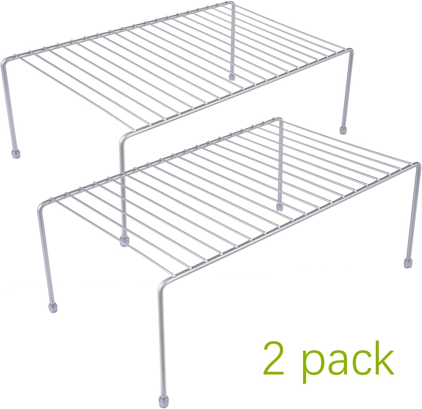 yaenoei Kitchen Storage Shelf Rack w/Plastic Feet - Medium - Steel Metal - Rust Resistant Finish - Cups, Dishes, Cabinet & Pantry Organization - Kitchen [Silver] 2 Pack