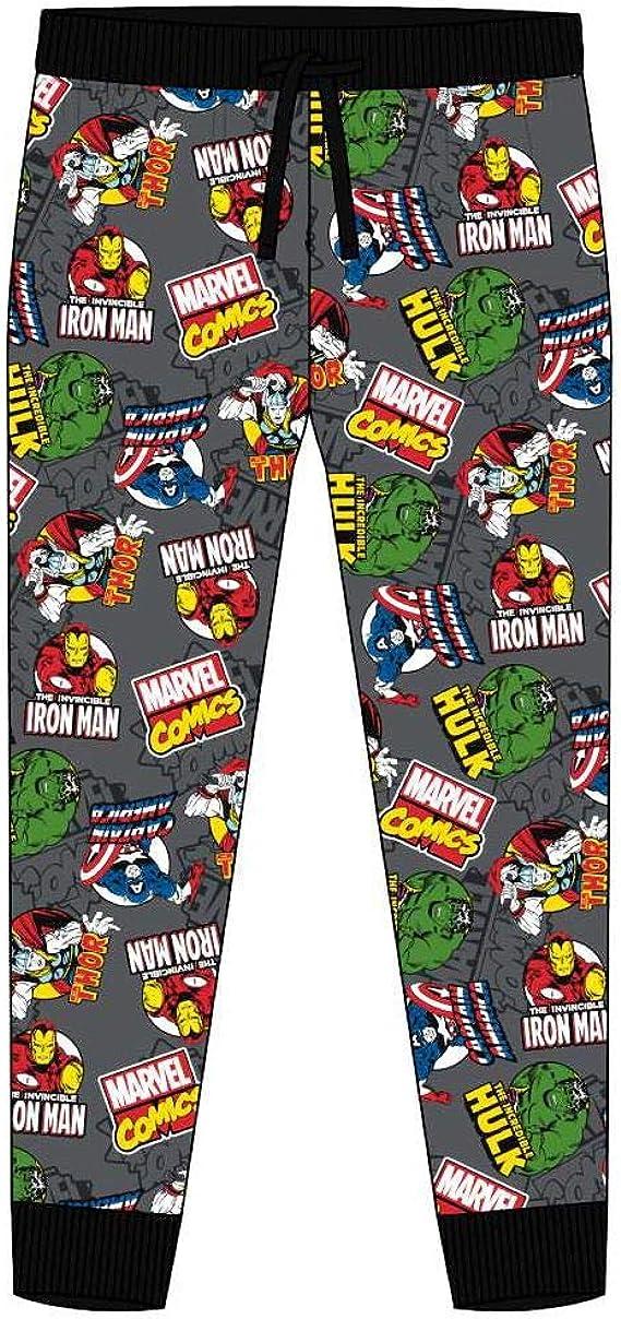 Men/'s Marvel Comic Strip Cuffed ankle Pyjama Bottoms Lounge wear PJ/'s S M L