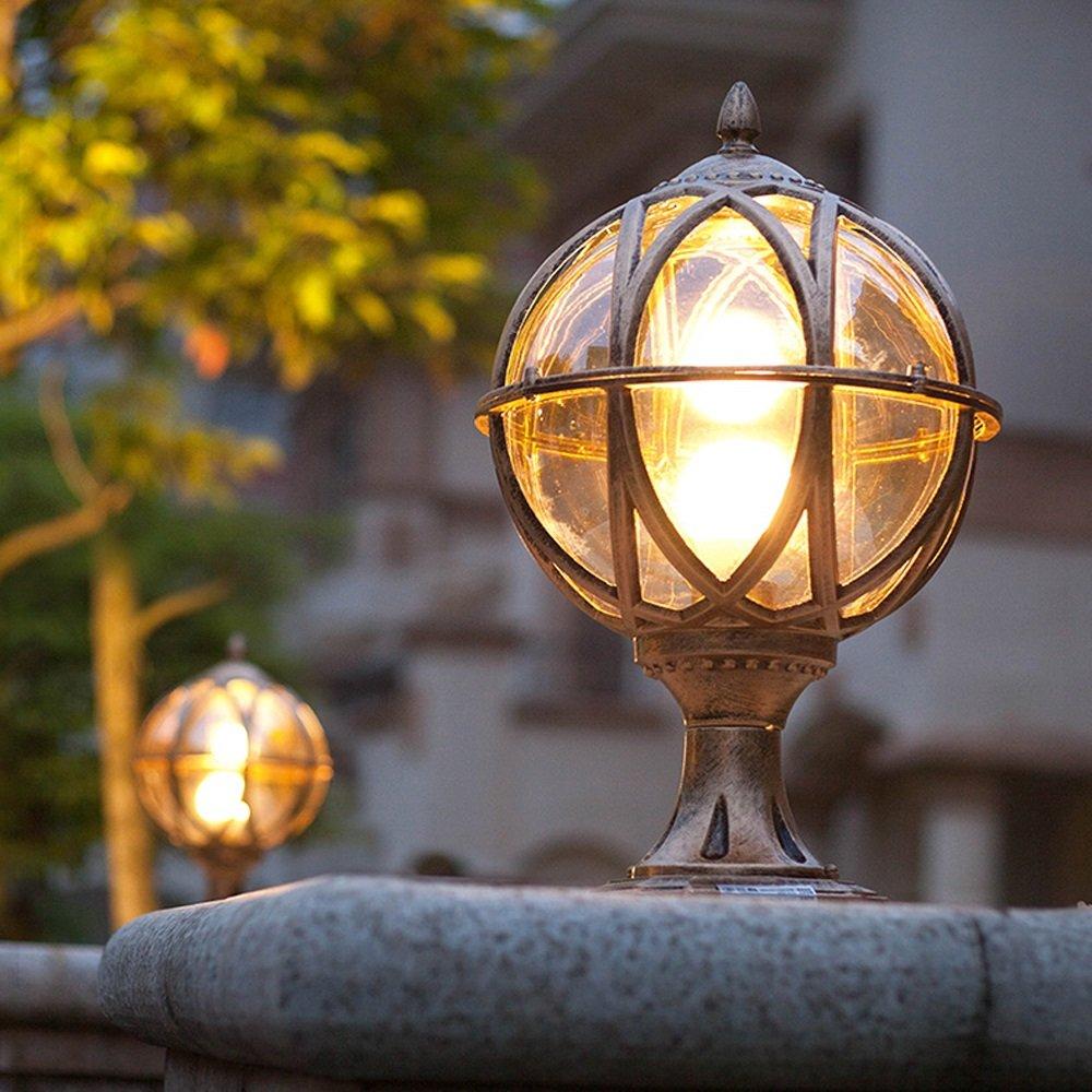 Modeen Outdoor Waterproof Table Lamp Post Light Column Lamp European LED Fence Door Villa Balcony Patio Spherical Glass Aluminum Light E27 Decoration Street Light (Color : Bronze, Size : S)