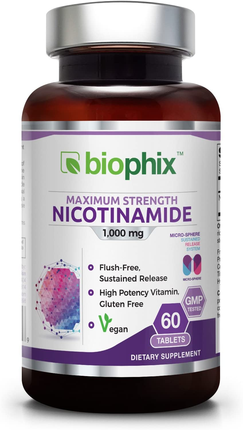 B3 Nicotinamide 1000 mg 60 Tabs Extra Strength Slow Release Natural Flush-Free Vitamin Formula Gluten-Free Nicotinic Amide Niacin Supports Skin Health