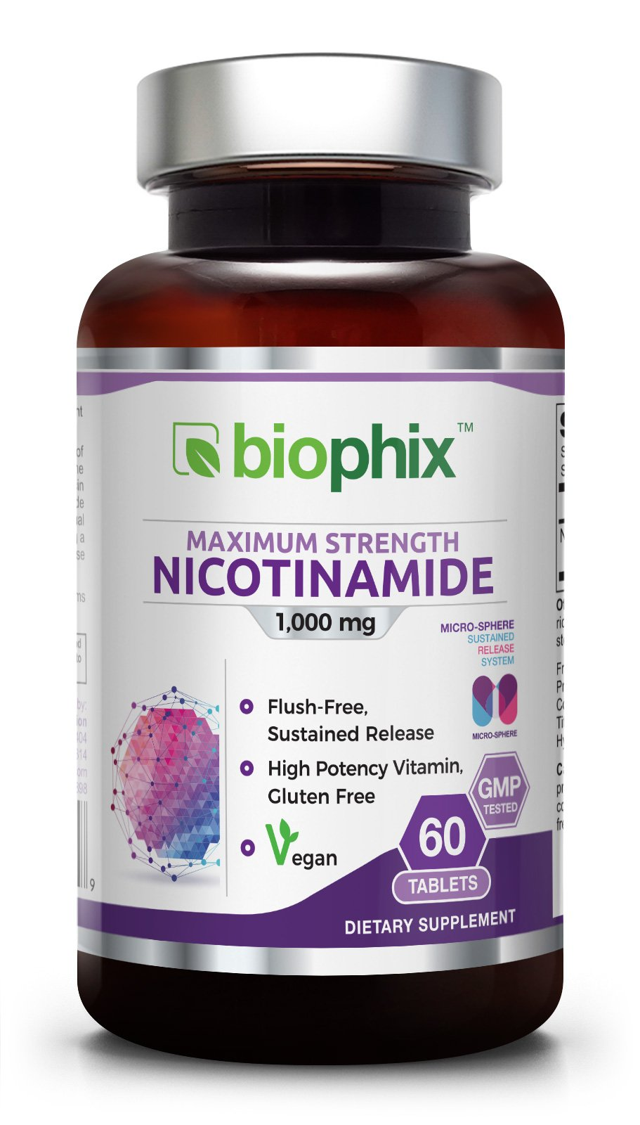 B-3 Nicotinamide 1000 mg 60 Tabs Extra Strength Slow Release Natural Flush-Free Vitamin Formula | Gluten-Free Nicotinic Amide Niacin | Supports Skin Health | Cell Repair Support