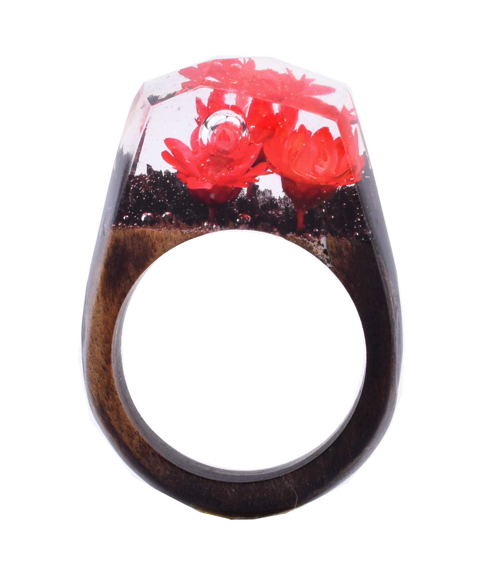 Heyou Love Handmade Wood Resin Ring With Red Flowers Micro Inside Rings Jewelry