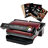 T-fal GC704 OptiGrill Stainless Steel Indoor Electric Grill with Removable and Dishwasher Safe plates,1800-watt, Red