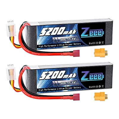Zeee 11.1V 50C 5200mAh 3S Lipo Battery with Deans and XT60 Connector Soft Case for RC Plane DJI Quadcopter RC Airplane RC Helicopter RC Car Truck Boat(Short) - 2 Packs: Toys & Games