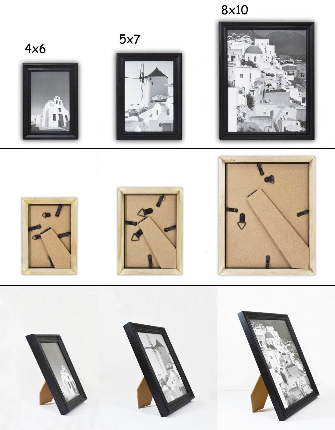 Solid Wood Photo Frame Black 2016BW-GWF-10S-SF0097 Golden State Art Wall Frame Collection Set of 10