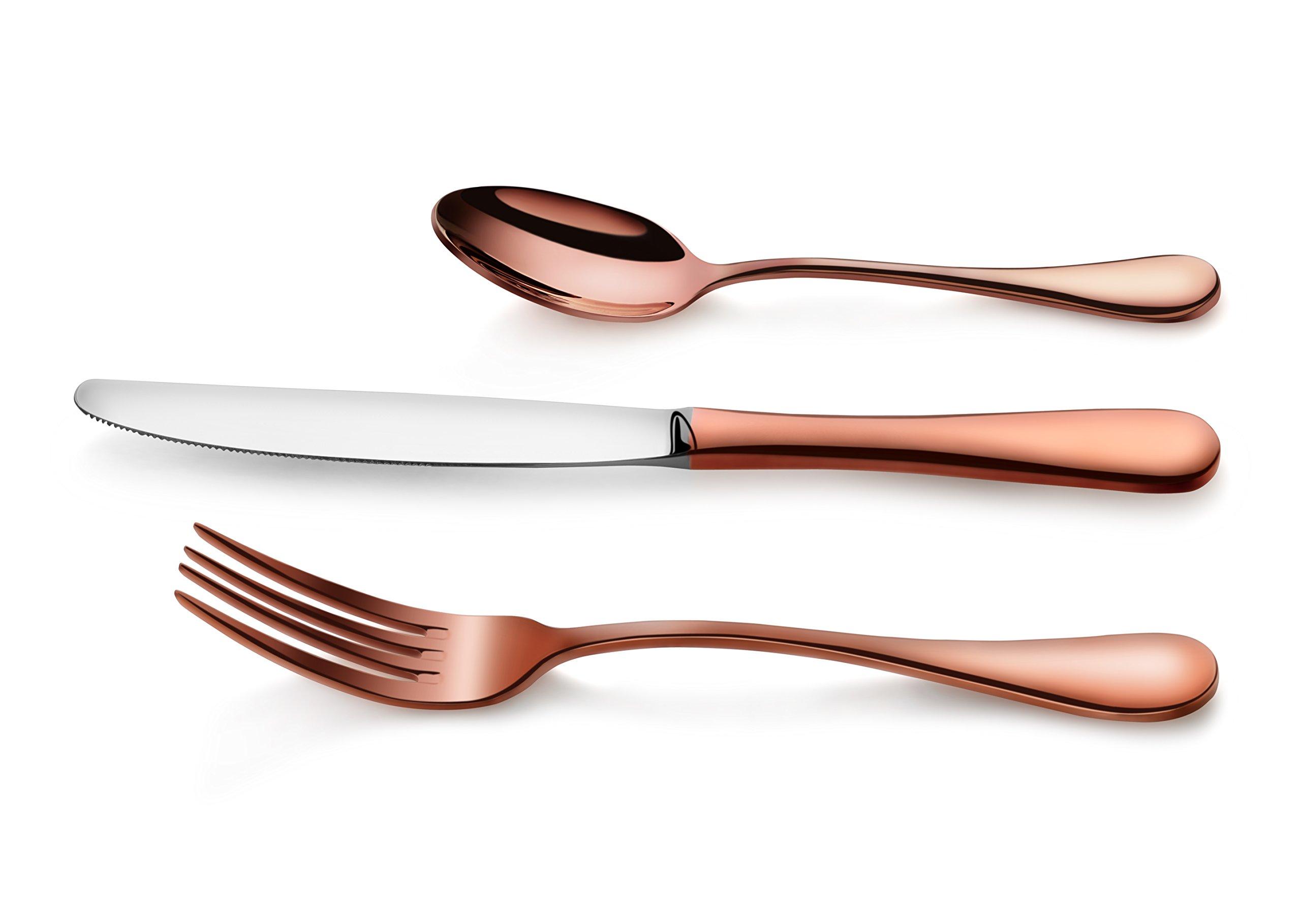 Artaste 56419 Rain 18/10 Stainless Steel Flatware 36 Piece Set, Antique Copper Finished, Service for 12 by Artaste (Image #6)
