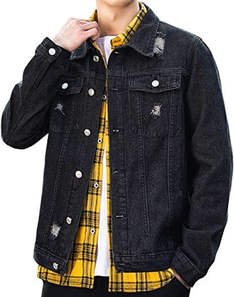 JHIJSC デニム ジャケット メンズ 春秋 ジージャン カジュアル ゆったり 無地 おしゃれ 大きいサイズ