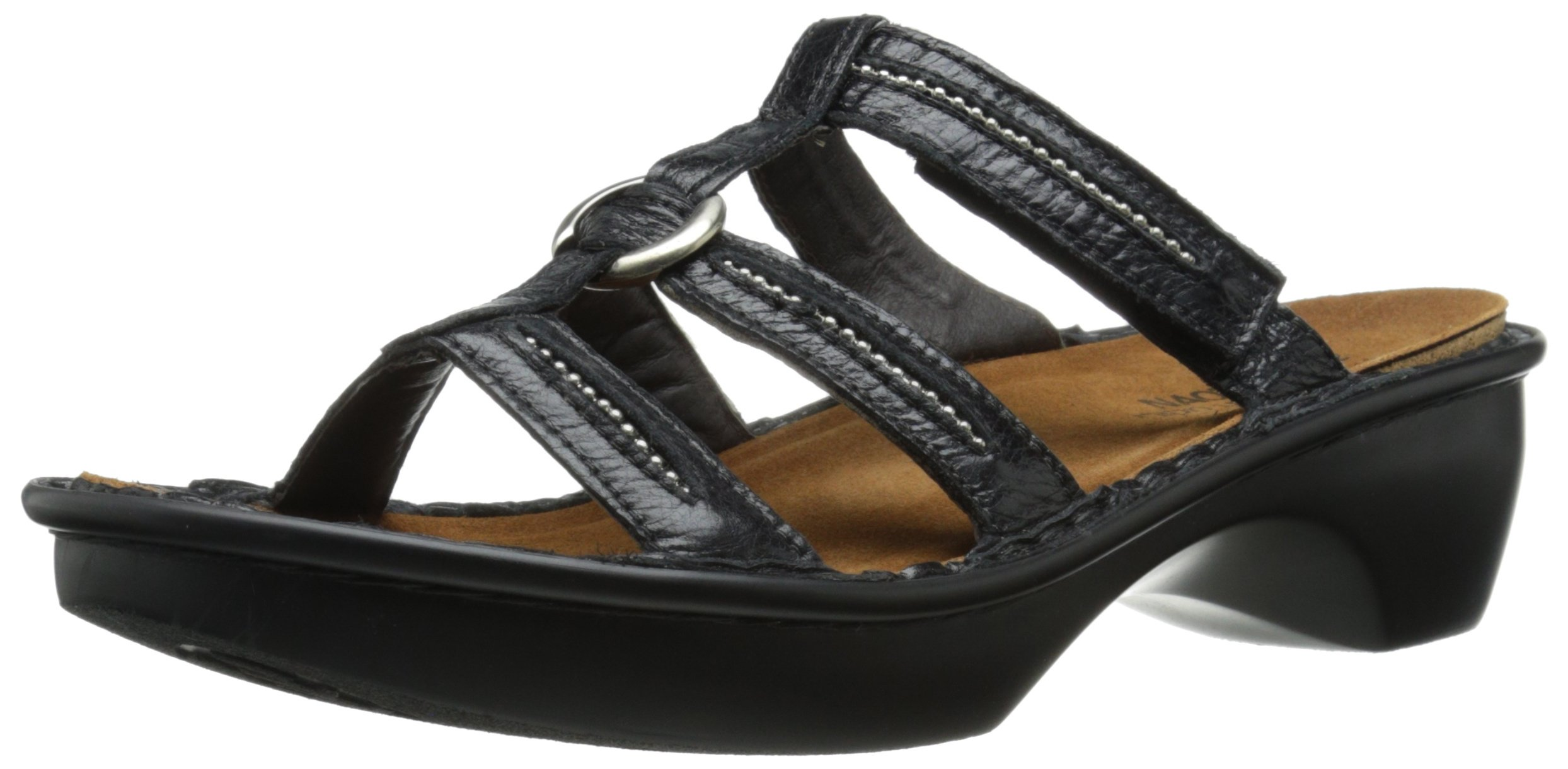 Naot Women's Brasilia Wedge Sandal, Black Madras Leather, 35 EU/4.5-5 M US